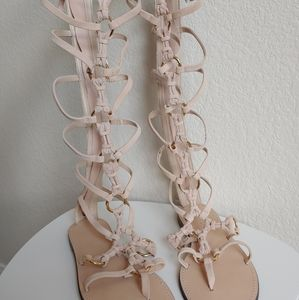 ZARA Pink and Gold Gladiator Sandals